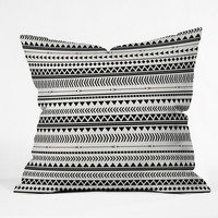Allyson Johnson Black And White Aztec Pattern Throw Pillow - Indoor /