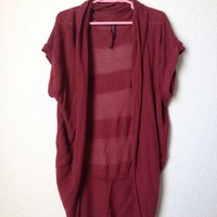 Absolutely Creative Worldwide Burgundy Open Knit Cardigan Size S