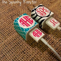 iPhone Charger/USB Cord Monogrammed Decal  by TheSpunkyRooster