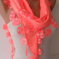 Christmas Gift - Neon Pashmina Scarf with Trim Edge
