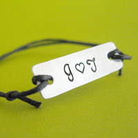 Love Initials Custom Stamped slide knot by SpiffingJewelry on Etsy