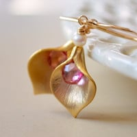 NEW Calla Lily Earrings, Pink Topaz Gemstone, Semiprecious Stone and Freshwater Pearl, Gold Jewelry, Free Shipping