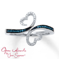 Open Hearts Waves Ring 1/10 ct tw Diamonds Sterling Silver