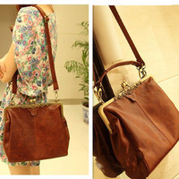 New Style Brown Hollow Out Shoulder Tote Bag Handbag