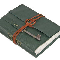 Green Leather Journal with Skeleton Key Bookmark by boundbyhand