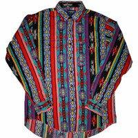 Vintage 90s Colorful Wrangler Button Down Shirt Mens Size 16 1/2 - 35 (Large)