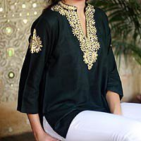 Cotton tunic - Mughal Enchantment - NOVICA