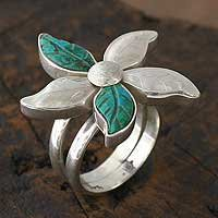 Chrysocolla flower ring - Petals - NOVICA