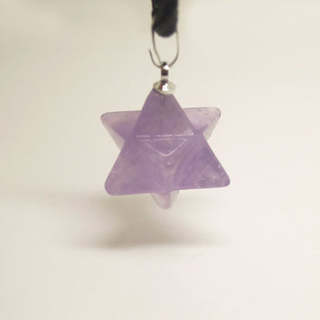 1PC Semi-precious Stone Purple Amethyst Healing Crystal Merkabas Necklace or Crystal Points Pendulum Pendant Birthday Gift