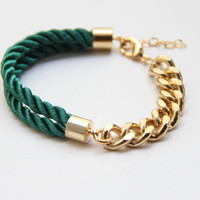 Arm Candy Half and Half: Gold chunky chain and Green Silk Bracelet - 24k gold plated