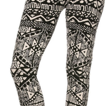 Tribal Me in Black and White Leggings
