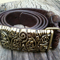 chocolate brown leather womans belt with brass by G2Pleather