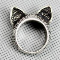 Cat Ears Ring Size 5 Silver Colored Retro | christinepurr - Jewelry on ArtFire