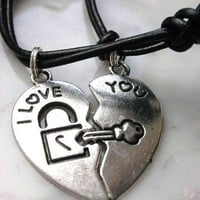 I Love You Key and Lock Couples&#x27; Necklace by StarBurstJewels
