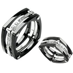 Unique Titanium Ring Wedding Band with Nine Stones Size 6 - Black Knight