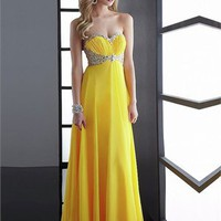 Sweetheart High-low Open Back Yellow With Sequins Prom Dress PD0540
