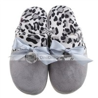 Big Bowknot Leopard Women Indoor Slippers - DinoDirect.com