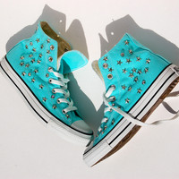 Star Studded Converse - Tiffany Blue