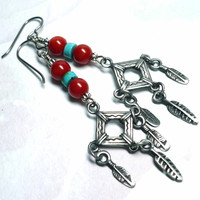 Red Coral Blue Turquoise and Pewter Feather Dangle Niobium Earrings