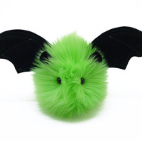 Beetle the Bat Fluffy Lime Green Halloween Stuffed Animal Toy Plushie - 4x5 Inches Small Size