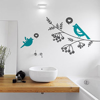 Lovebirds And Tree Branch Wall Sticker