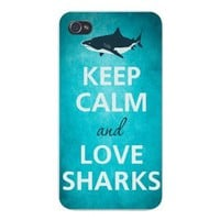 Apple Iphone Custom Case 4 4s White Plastic Snap on - Keep Calm and Love Sharks Great White