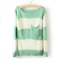 Green White Striped Long Sleeve Loose Sweater