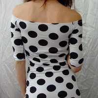 So Sexy and Feminine Super Comfy Tight Mini Dress Eco Friendly White Black polka dots Off Shoulder