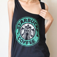 Starbucks coffee new sexy black t-shirt tank top vest singlet women