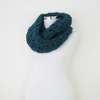 Chunky teal crochet cowl, crochet infinity scarf, wide circle scarf, gray, teal, black, ivory, oatmeal, choose your color