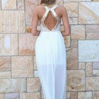 Gold Sequin Bodice & Back White Skirt Maxi Dress