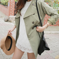 Women khaki trench coat/women wide collar jacket/women jacket/women coat/women top/women outerwear/women blazer