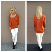 Rust Oversize Long Sleeve Top
