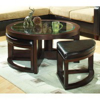Woodbridge Home Designs 3219 Series Round Cocktail Table with Four PU Ottomans - 3219PU-01 - Accent Tables - Decor