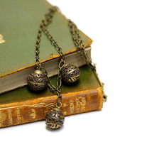 "Antique Drop Necklace, Button Jewelry, 1800s Charm Necklace, Brass, Romantic Victorian, Rare Metal Filigree Ball Beads - ""Golden Lanterns"""