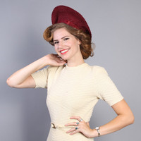 40s Beret HAT / Burgundy STRAW Tall Halo Hat