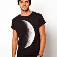 ASOS | ASOS T-Shirt With Half Moon Print And Rolled Sleeve at ASOS