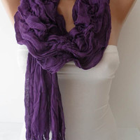 Christmas Gift - Purple Cotton Ruffle Shawl Scarf - Headband - Gift