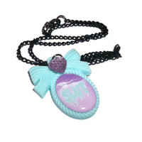Pastel Slut Necklace, Ironic Mint Green Kawaii Pastel Grunge Cameo Necklace