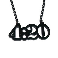 4:20 Necklace, Weed, Cannabis Subculture Laser Cut Perspex Pendant