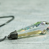 Crystal 40mm Drop Necklace Swarovski Jewelry Oxidized by DevikaBox