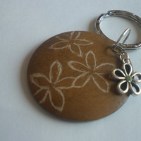 Ooak Carved Wood Flowers Keychain with Green Flower Pendant by PhreshThreadz