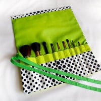 Neon Lime and Polka Dot Make Up Brush Roll