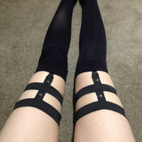 high garters custom made to order. bondage studs by VomitusCreeper