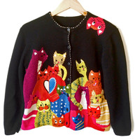 """Pile 'O Kitties"" Crazy Cat Lady Tacky Ugly Sweater - The Ugly Sweater Shop"