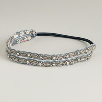 Gray and Silver Beaded Elastic Double Headband | World Market