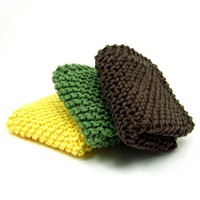 Knit Dishcloth Set Classic Kitchen Cotton Sunflower Yellow Green Brown