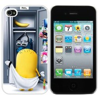 Despicable Me Minion After Bathing Fashion Design Hard Case Cover Skin Protector for Iphone 4 4s Iphone4 At&t Sprint Verizon Retail Packing(white Pvc+pearlescent Aluminum) Fs -041