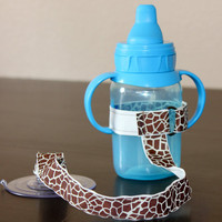 Giraffe Print Sippy Strap with by ChunksBabyJunk