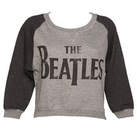 Ladies Baseball Style Beatles Logo Cropped Fleece Sweater : TruffleShuffle.com